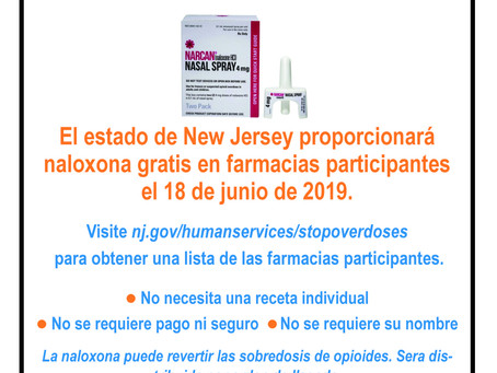 NJ Human Services is making naloxone the opioid overdose reversal drug available for free on June 18