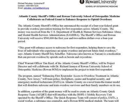 Atlantic County Sheriff's Office and Rowan University School of  Osteopathic Medicine Collaborate o