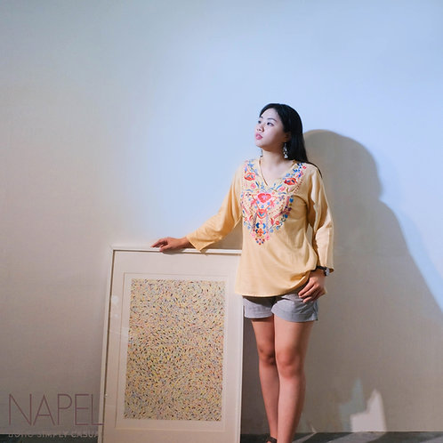 V-Neck Long Sleeve Embroidery Top