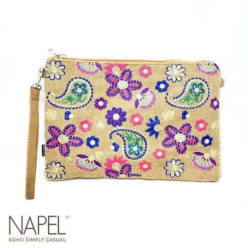Jute Clutch Bag - Floral