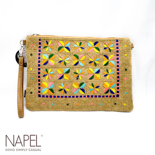 Jute Clutch Bag - Flower
