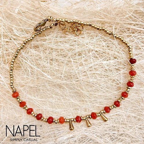 Natural Stone Anklet - Red