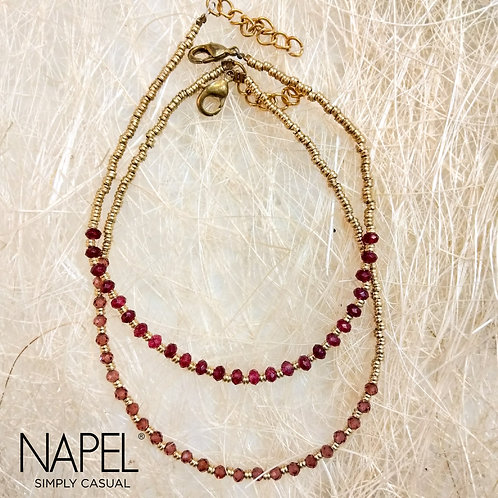 Natural Stone Anklet - Maroon