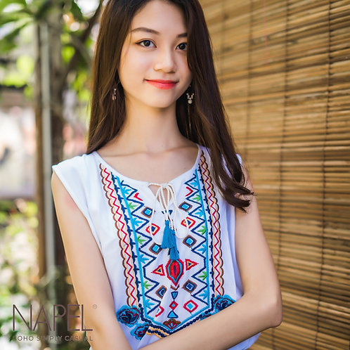 Embroidery Short Top - Sleeveless