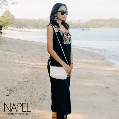 Sleeveless V-Neck Embroidery Long Dress Black