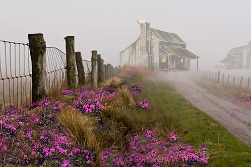 """Houses In The Mist / Giclee / 9.5""""x 15"""""""