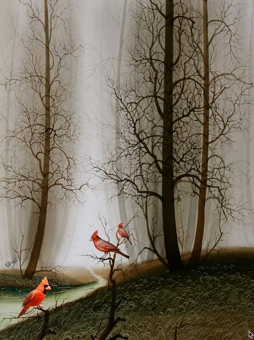Cardinal Bird / Watercolor