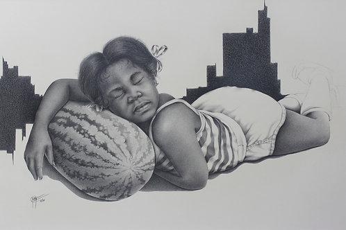 "Determination / Pencil Painting /14""x11"""