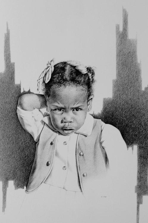 "Shy Girl / Pencil Painting / 18""x 23"""