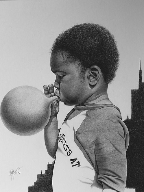 """The Balloonist / Pencil Painting / 13""""x 17"""""""