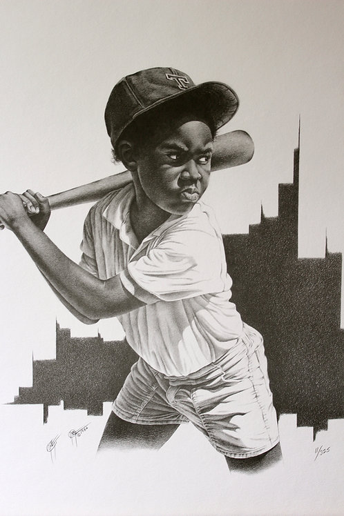 "Play Ball / Pencil Painting / 13""x 19"""