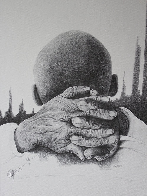 "A Reflection of Time / Pencil Painting / 14""x 21"""