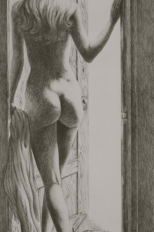 "Open Door / Pencil Painting / 10""x 20"""