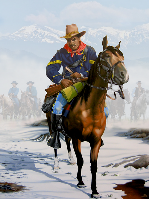 """Buffalo Soldier of US Calvary / Oil / 11""""x 14"""""""