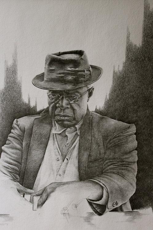 "Domino Man/ Pencil Painting / 13""x 18"