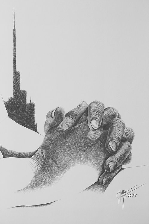 "Papa's Hands / Pencil Painting / 11""x 14"""