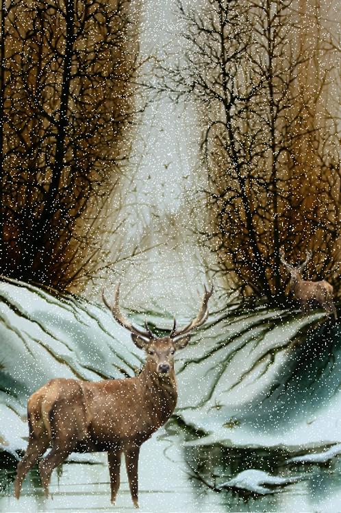 "Snow-Deer Hunt / Giclee 12""x16"""