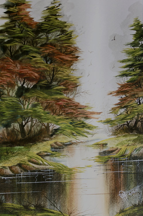 """Fall In Louisiana / Watercolor / 8""""x 11"""""""