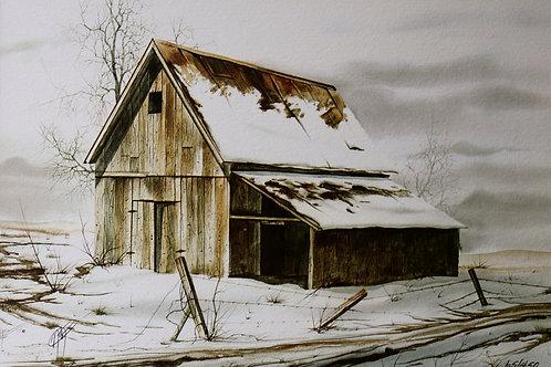 "Texas Snow / Watercolor / 10""x 14"""