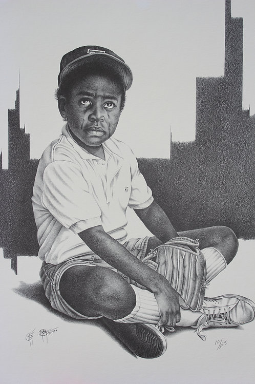 "Play Ball II / Pencil Painting / 13""x 19"""
