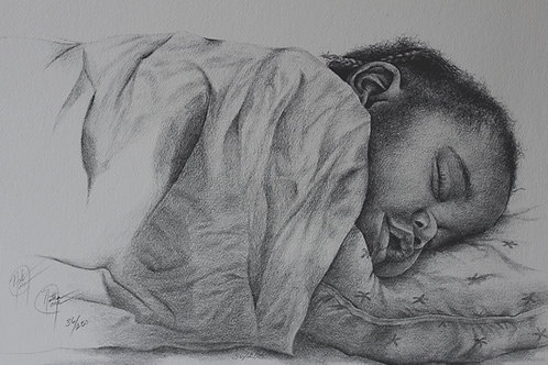"Natalee Jean and Her Pillow / Pencil Painting / 14""x 20"""