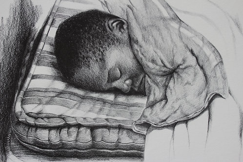 "The Ghetto Boy / Pencil Painting / 14""x 22"""