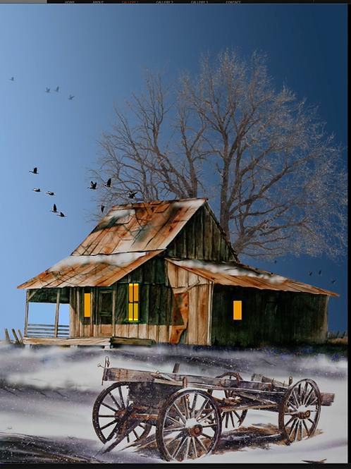 """Winter Dawn At Grandmum's House / Giclee  12""""x16"""""""