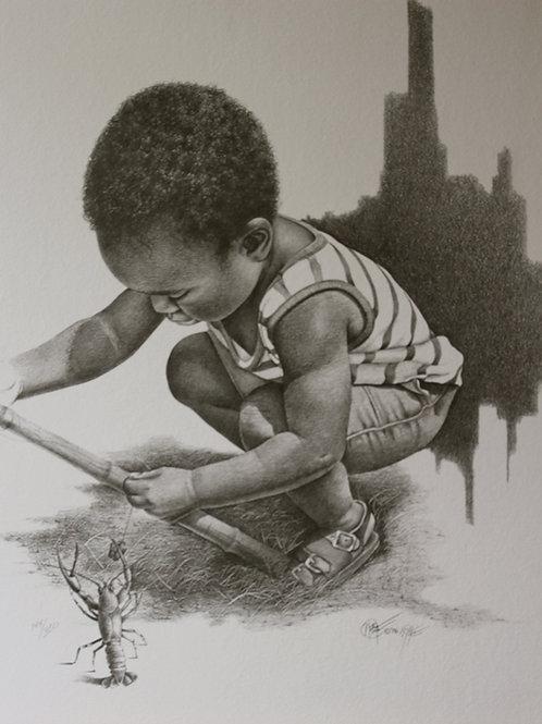 "Louisiana Fisherman II / Pencil Painting / 18""x 24"""