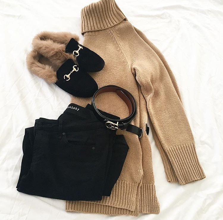 winter black tan outfit