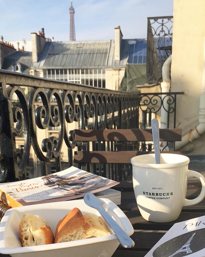 Paris terrace breakfast