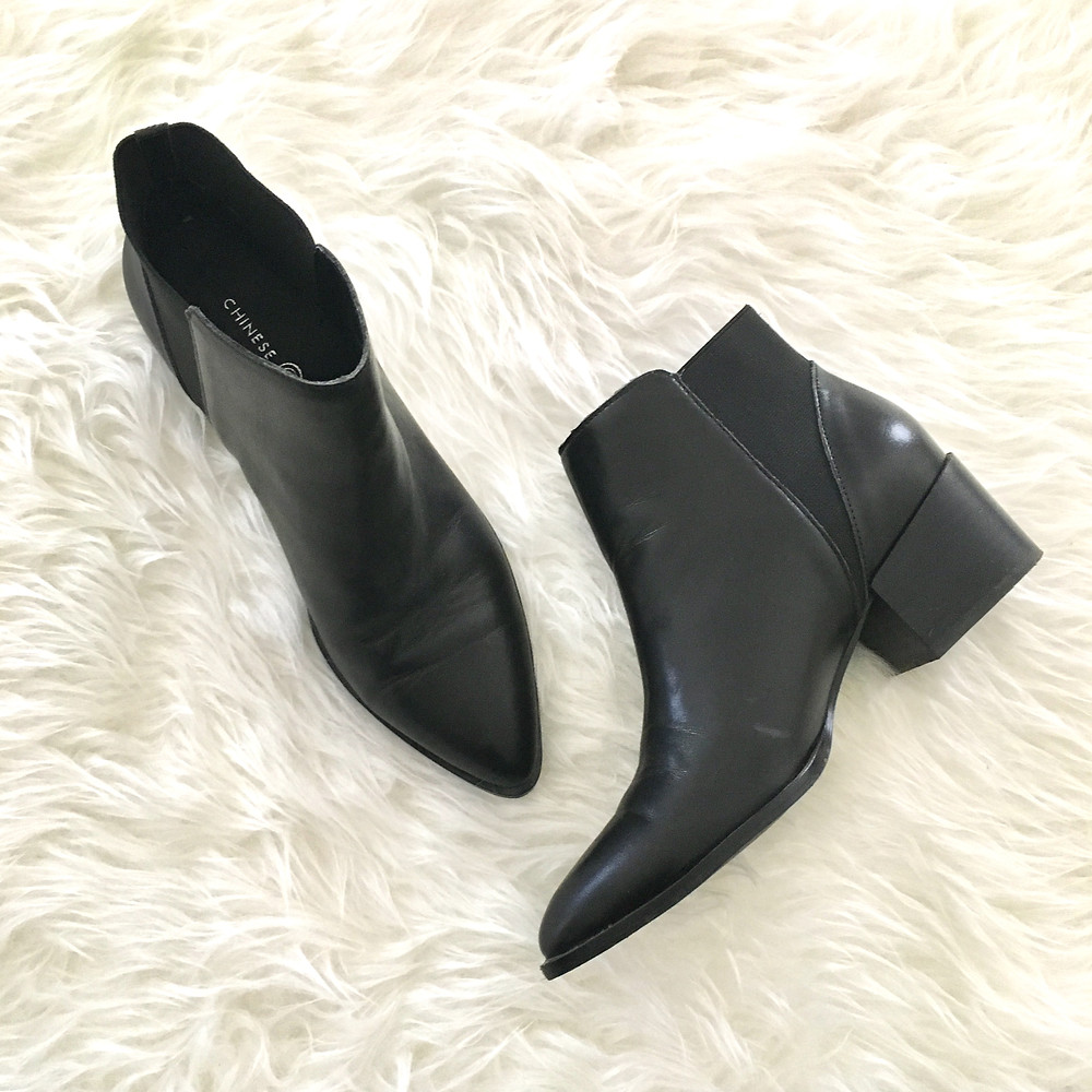 fall black leather ankle booties