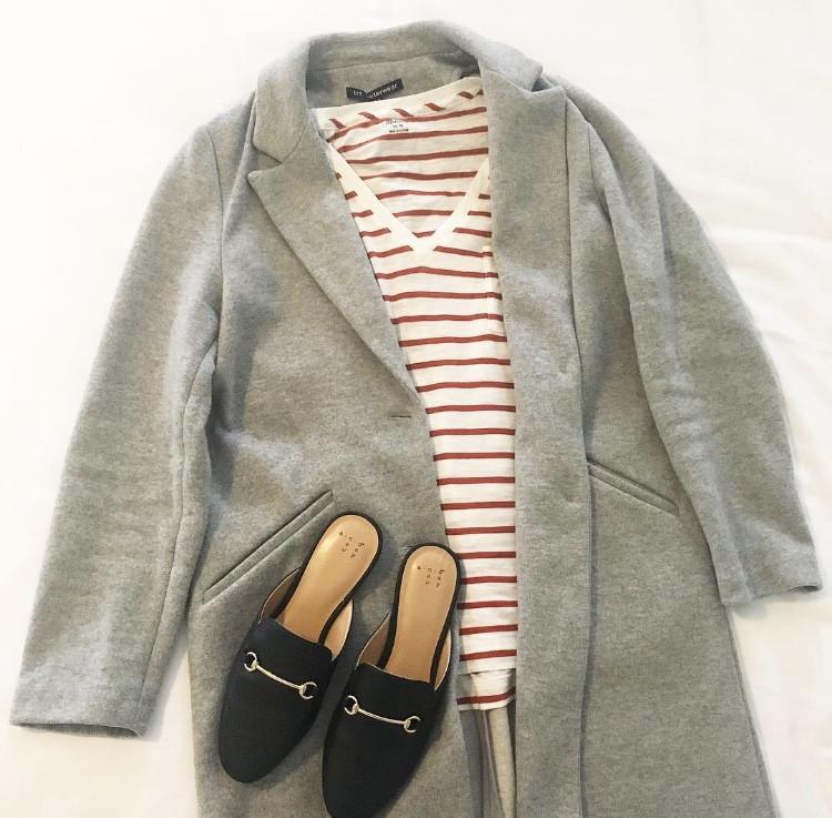 grey jacket strip tee loafers