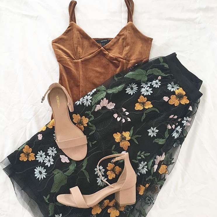 floral midi skirt with nude heels