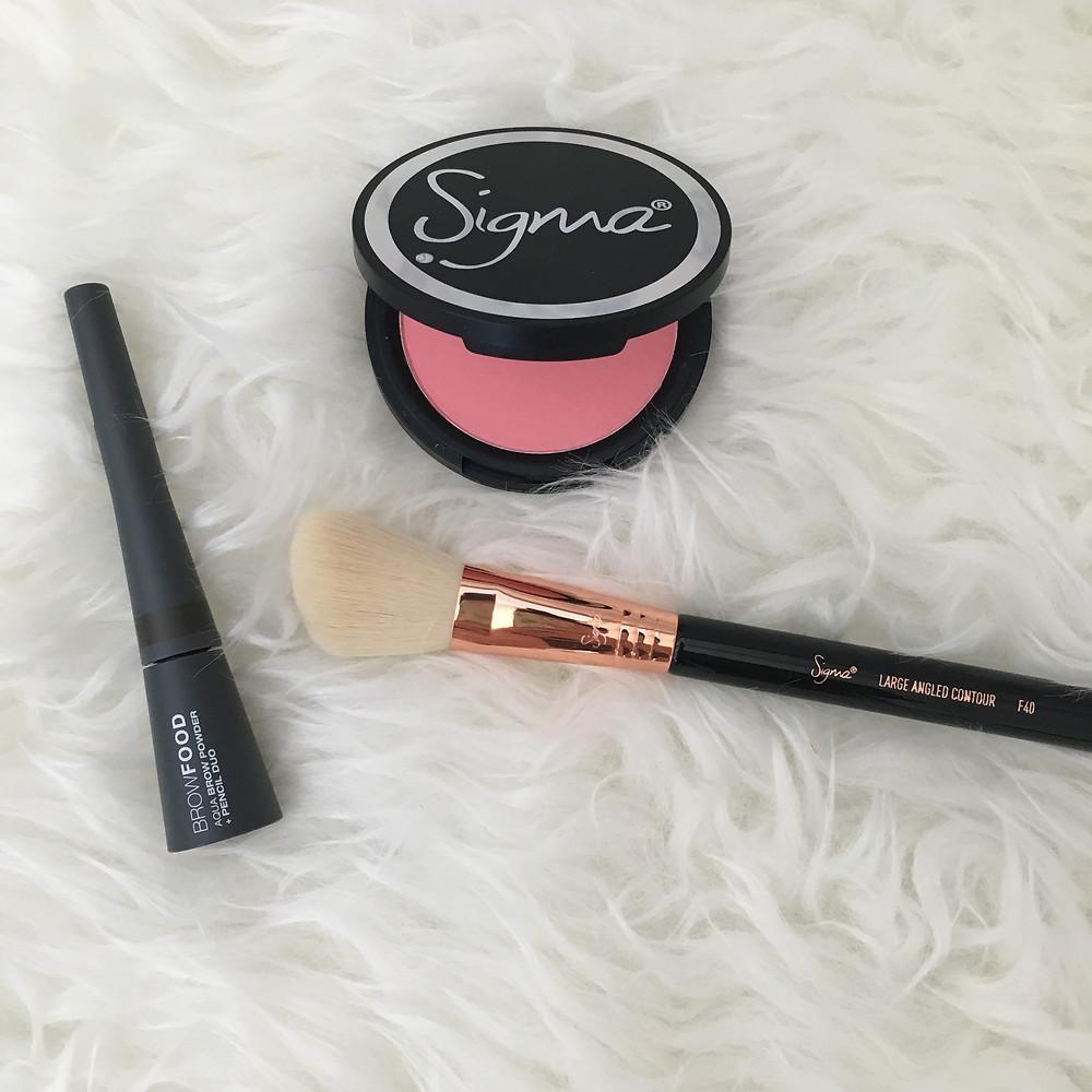 Sigma Beauty brush and blush, browfood powder