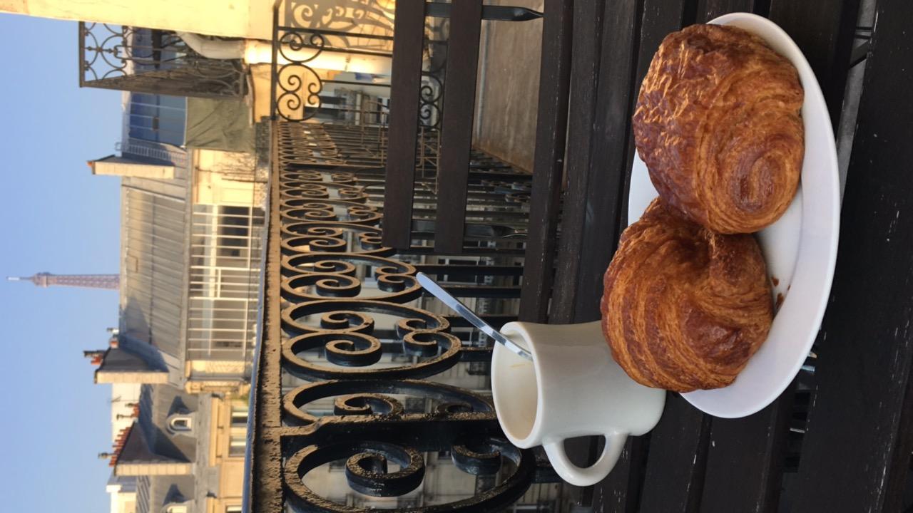 Paris flat terrace breakfast