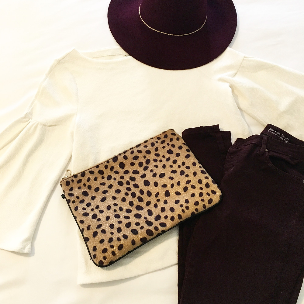 white and maroon outfit