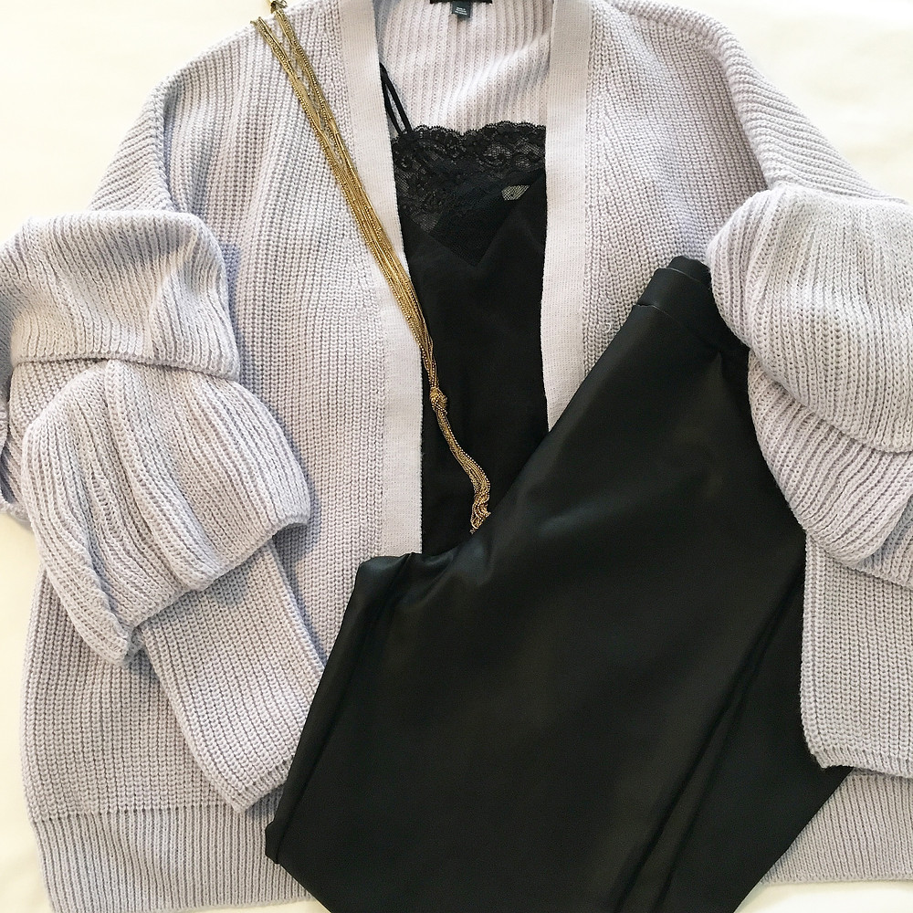 ruffle cardigan outfit