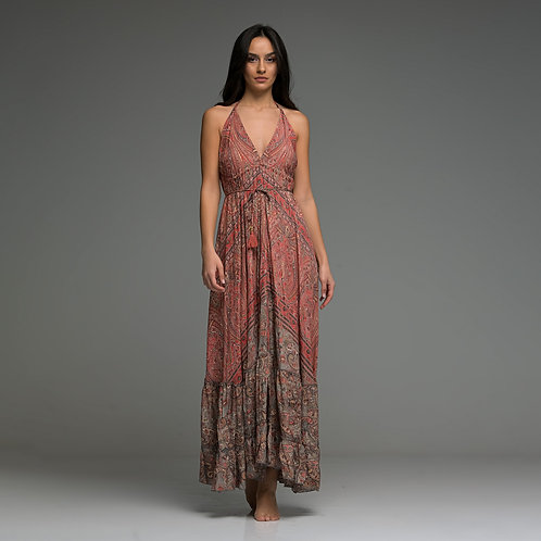 Ola Dress with Gold print from boho love