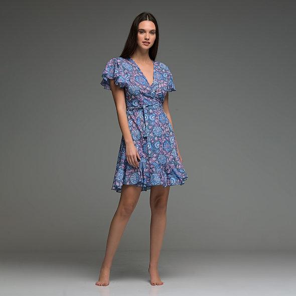 Novel dress Wrap Dress with handmade block print, cotton fabric from boho love