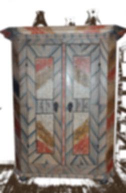 Fertig restaurierter Schank, Malereien, Barock,