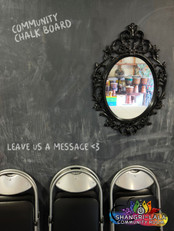 A chalk board wall for special messages.