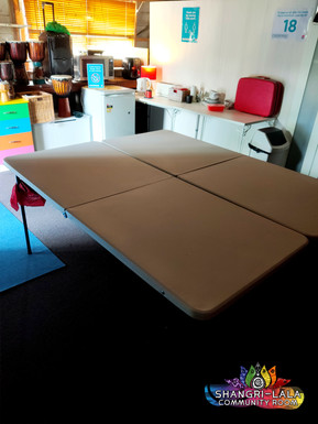 Various Tables for use, 12 chairs available, TV with Chromecast for presentations, free WIFI.