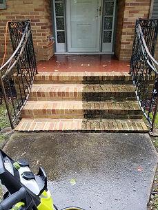 Pressure Washing Concrete Porch.