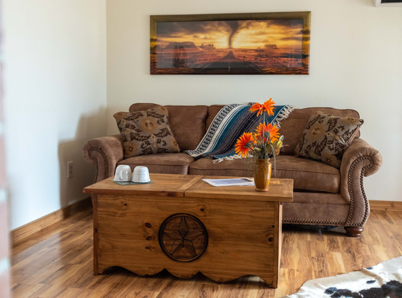 Cowboy living room area with pull-out so