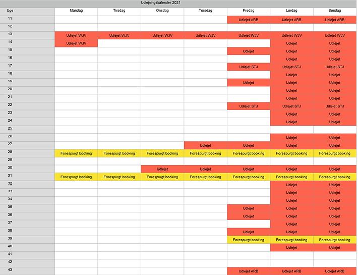 Booking kalender 19.11.2020