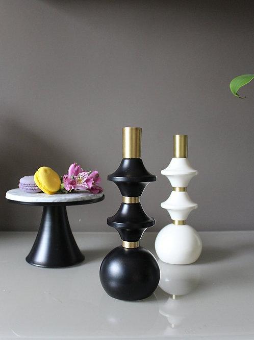 Bead Şamdan Siyah / Beyaz