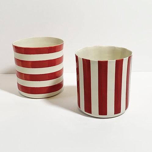 Porselen Bardak Çizgili Kırmız/Lacivert