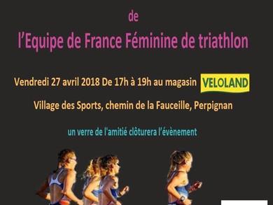 Equipe féminine de France de triathlon : en dédicace au magasin !