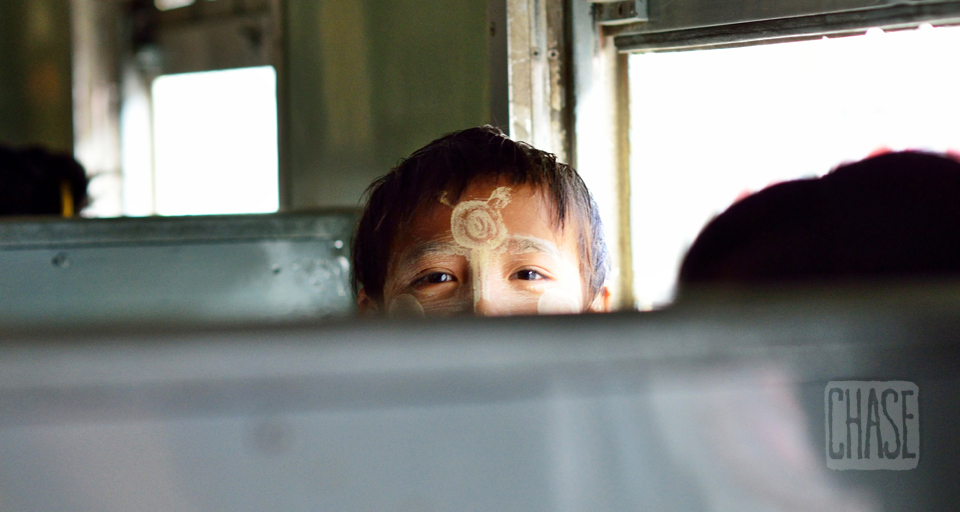 Burmese Boy on a Train in Myanmar