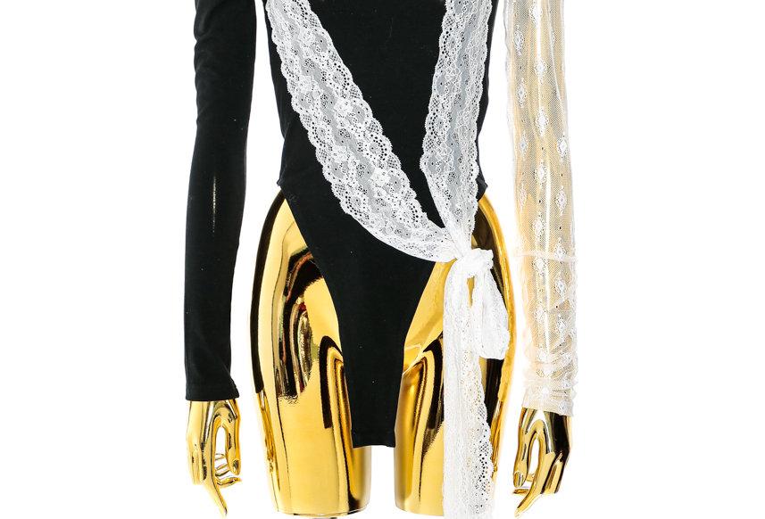 NODRESS / Lace black cotton bodysuit / White